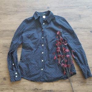 J. Crew classic polka dot button down blouse